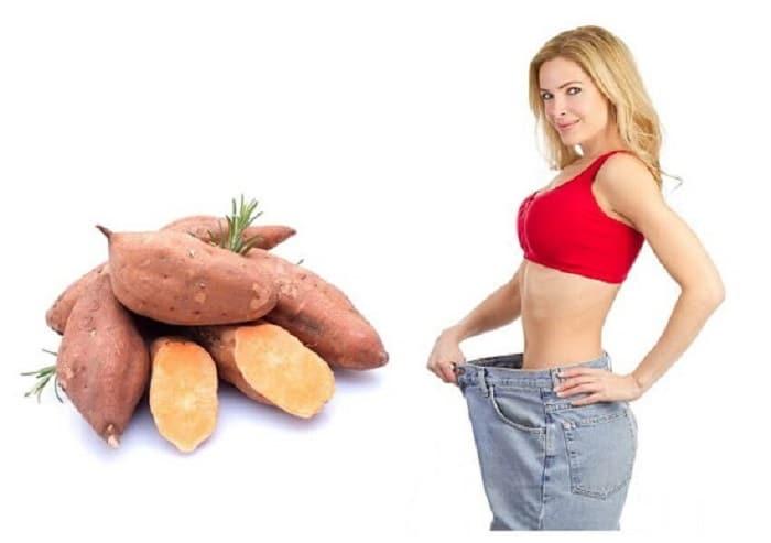 Giảm cân hiệu quả khi ăn khoai lang và kết hợp với rau luộc, trứng luộc.