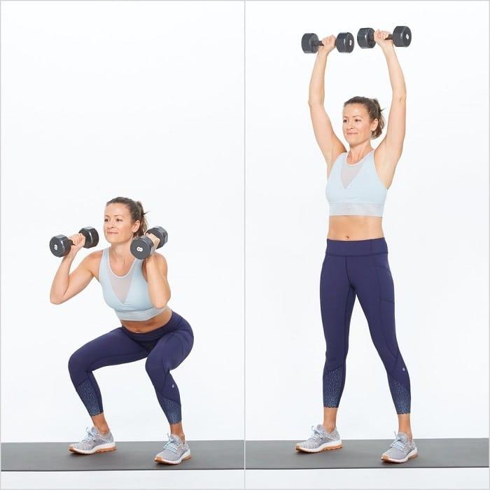 Bài tập nâng – đẩy tạ cơ bản cho việc tập Gym giảm cân.
