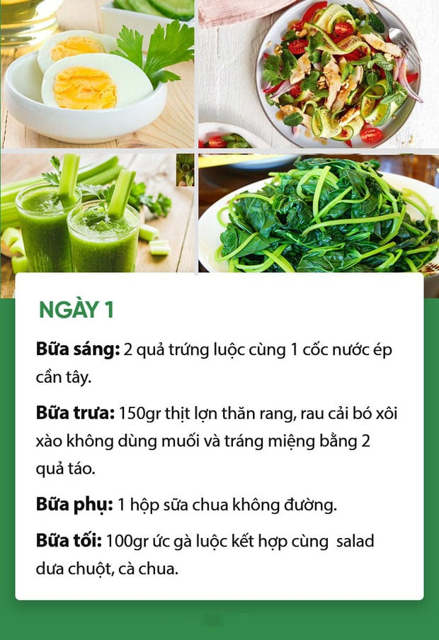 Thực đơn ăn kiêng giảm cân ngày 1