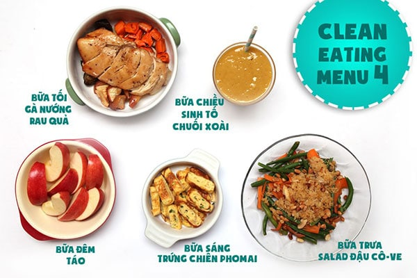 Thực đơn giảm cân Eat Clean ngày 4