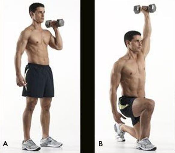 Trùng chân đẩy tạ qua đầu- Lunging Shoulder Press