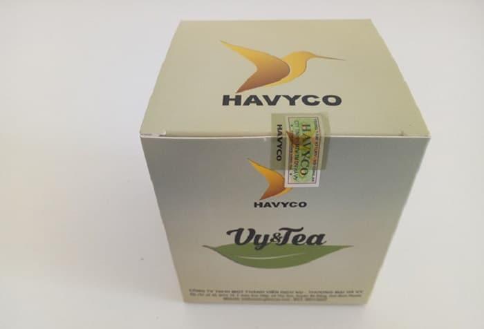 Tem chống hàng giả trên bao bì của trà giảm cân Vy Tea.