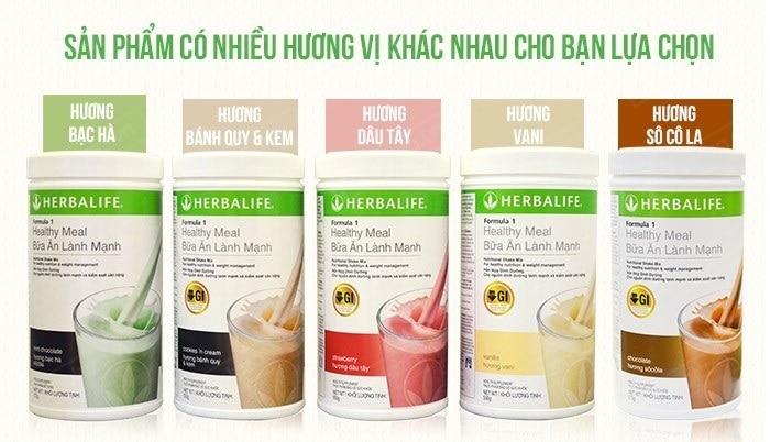 5 hương vị khác nhau của sữa dinh dưỡng giảm cân Herbalife.