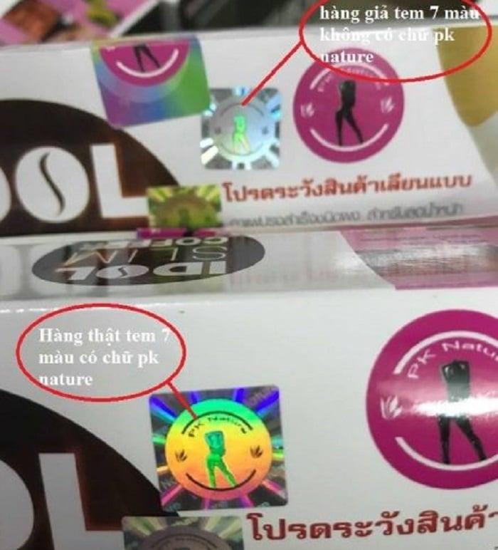 Hàng giả tem 7 màu và không có chữ PK Nature còn hàng thật thì 7 màu và có chữ PK Nature.