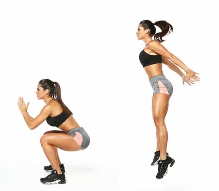 Bài tập nhảy cao kết hợp squat.