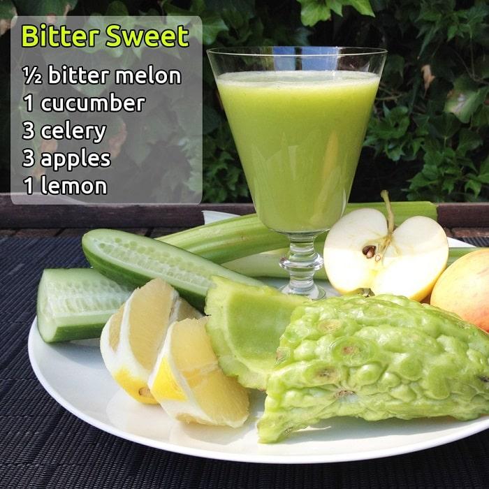 Sinh tố khổ qua và các loại rau quả khác giúp giảm cân an toàn mà hiệu quả.
