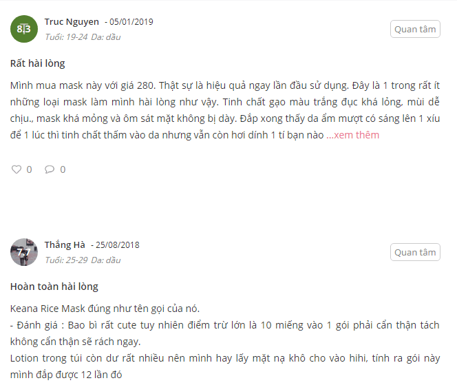 review mặt nạ cám gạo nhật