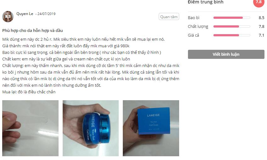 Laneige Water Bank Gel CreamSheis khách hàng phản hồi hài lòng