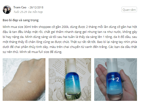 Tinh chất Laneige Water Bank Hydro Essence review chi tiết