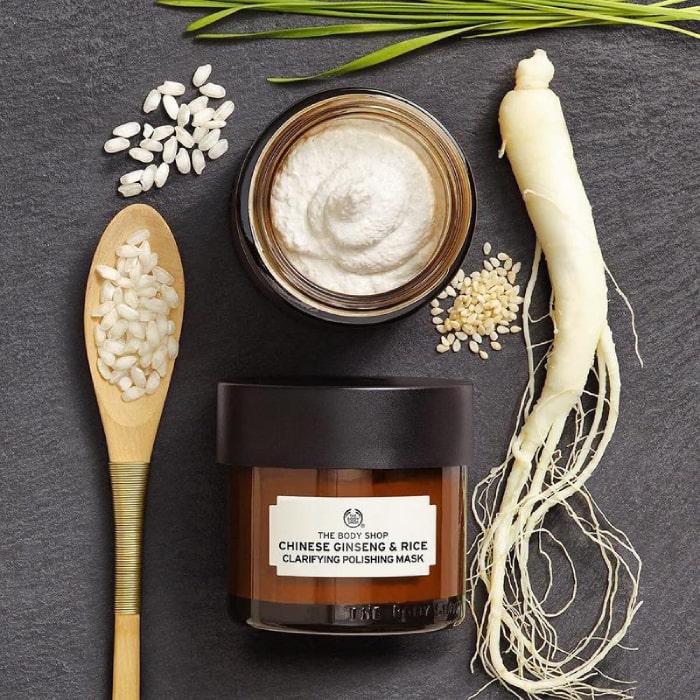 Mặt nạ The Body Shop Chinese Ginseng & Rice Clarifying Polishing Mask thành phần từ thiên nhiên