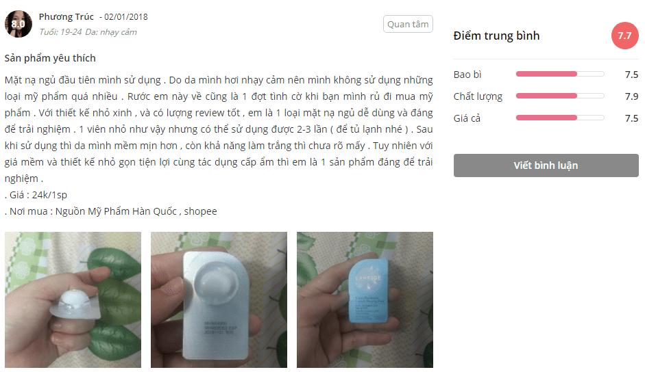 Feedback khách hàng sử dụng mặt nạ ngủ Laneige White Plus Renew