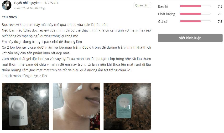Feedback khách hàng sử dụngv mặt nạ ngủ Laneige White Plus Renew trên diễn đàn làm đẹp Sheis