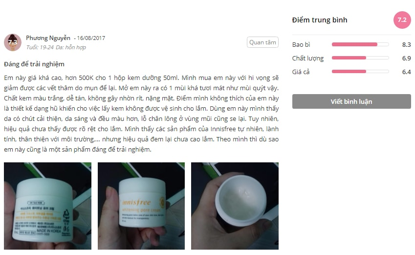 kem dưỡng trắng dainnisfree whitening pore cream(50ml)