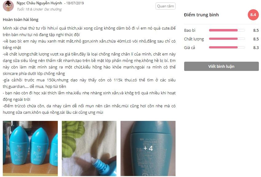 review kem chống nắng senka perfect uv milk